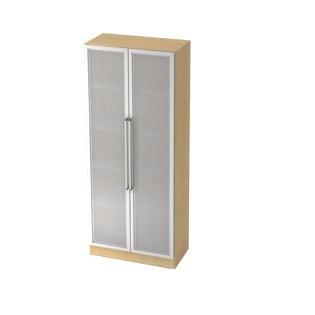 Schrank Milchglastüren + Rahmen silber nicht abschließbar 80 x 42 x 200,4 cm