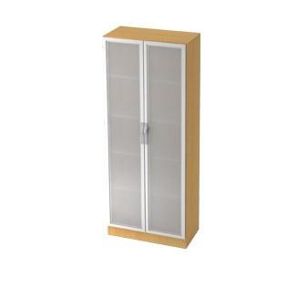Schrank Milchglastüren + Rahmen silber 5 OH 80 x 42 x 200,4 cm