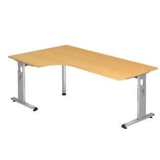 Schreibtisch O-Serie 200x120 li/re montierbar inkl. 2 Kabeldosen