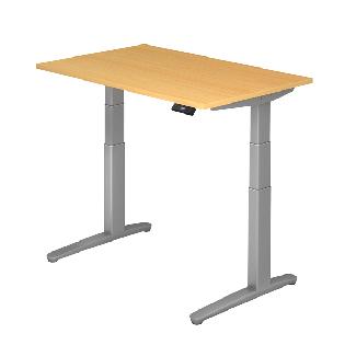 Steh-Sitz-Tisch XBHM-Serie Modell 120 x 80 cm in Buche / Silber