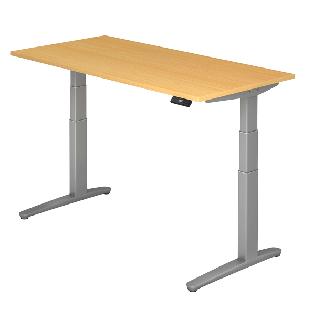 Steh-Sitz-Tisch XBHM-Serie Modell 160 x 80 cm in Buche / Silber