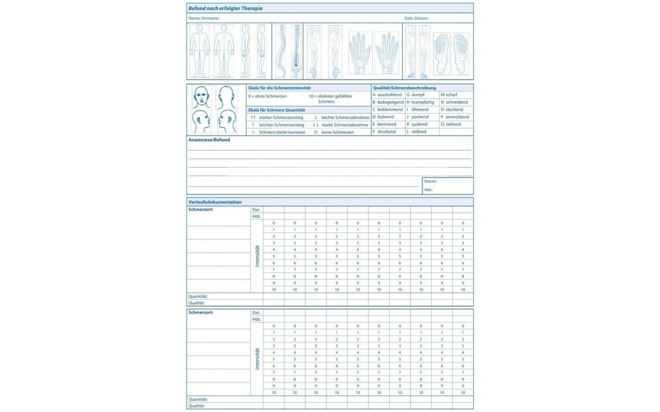 Einlegeblatt Schmerzdokumentation S. 2