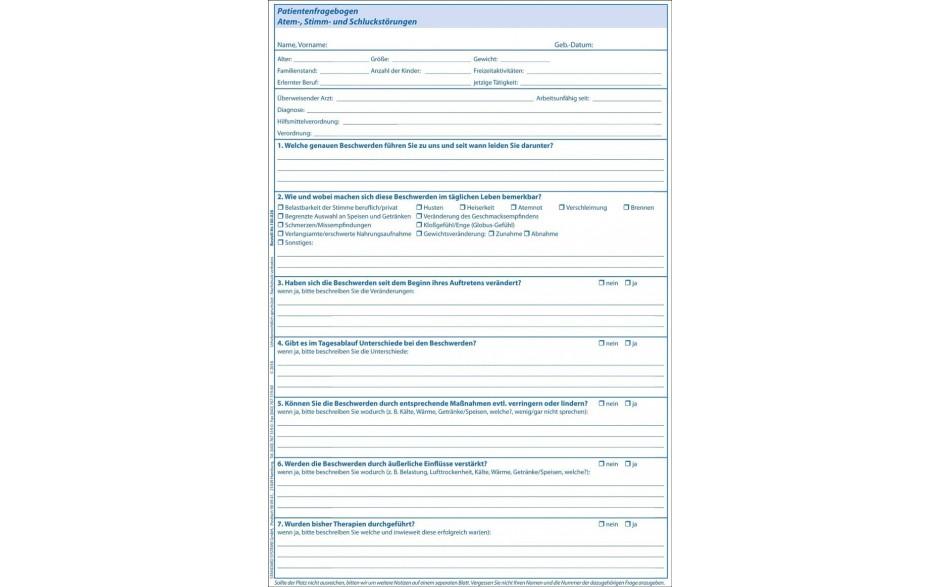 Patientenfragebogen Atem-, Stimm- & Schluckstörungen Rückseite