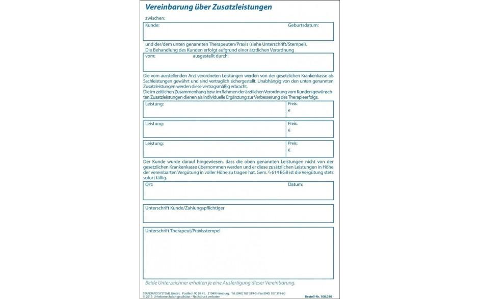 Vereinbarung über Zusatzleistungen 100.030