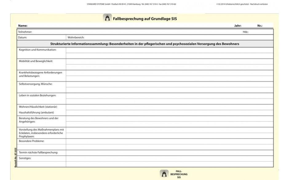 87.055 Fallbesprechung auf Grundlage SIS