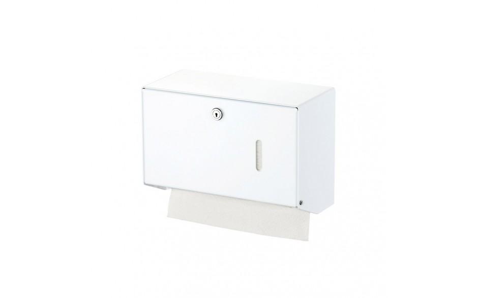 Papierhandtuchspender Aluminium weiß pulverbeschichtet (Farbbeispiel Modell 400 Tücher)