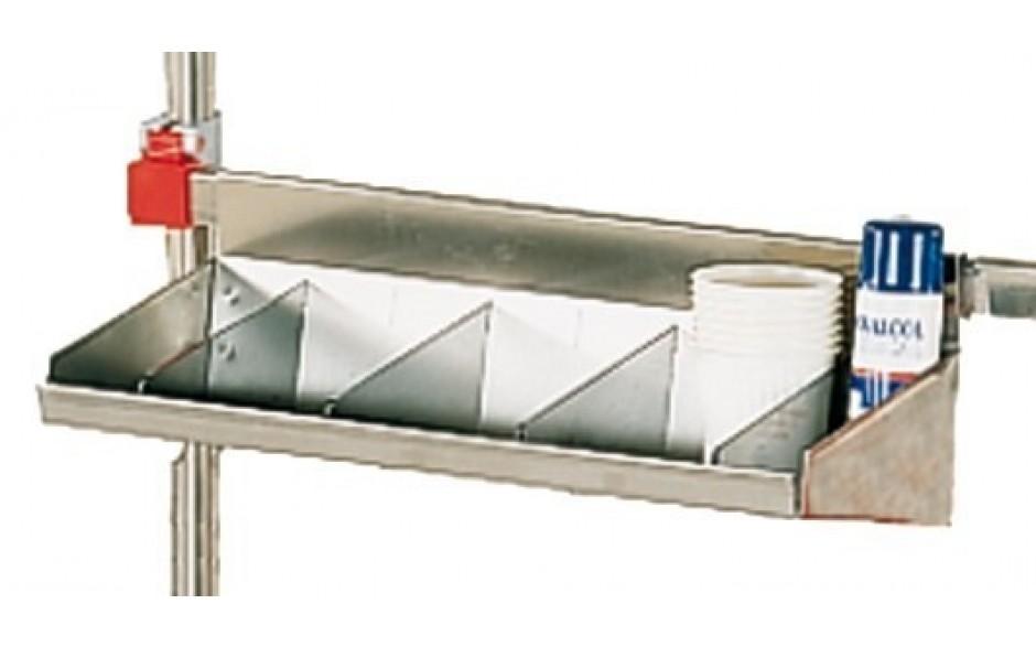 Tablett aus Edelstahl mit Trennwänden aus Kunststoff