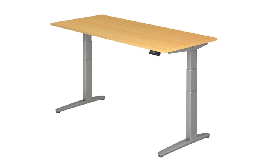 Steh-Sitz-Tisch XBHM-Serie Modell 180 x 80 cm in Buche / Silber