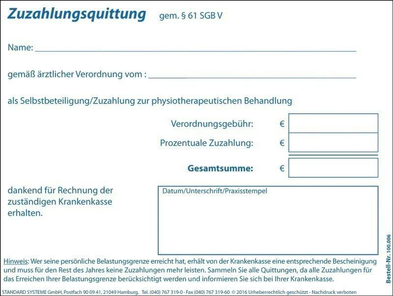 Zuzahlungsquittung Physiotherapie 100.006