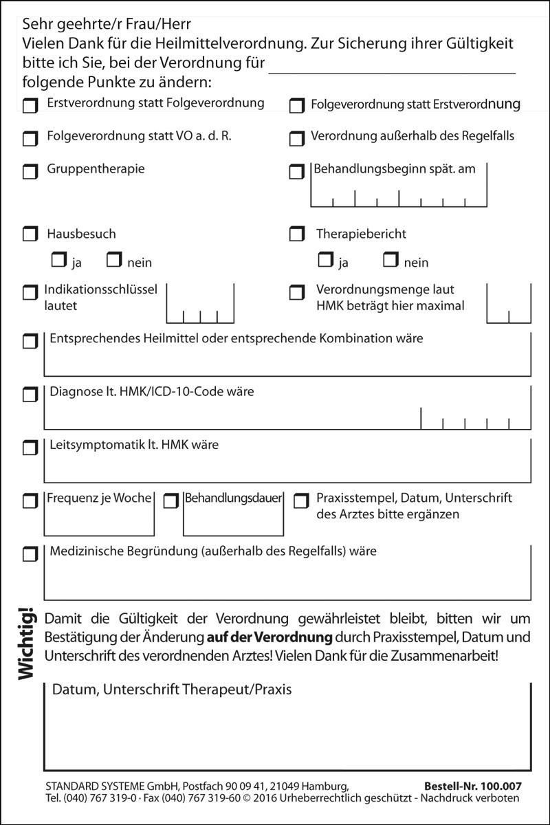 Haftnotiz Verordnungsänderung - Logopädie 100.007