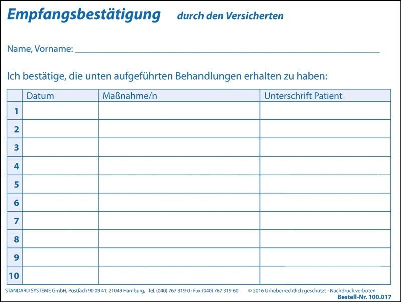 Empfangsbestätigung gemäß Heilmittelrichtlinie für 24 Behandlungen