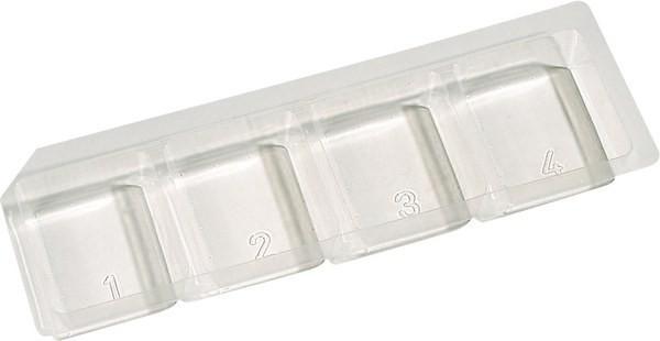 Transparente Einlage aus Kunststoff, eingeteilt in 4 Fächer