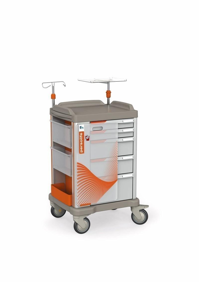 Persolife Notfallwagen mit 5 Schubladen und ausziehbarer Schreibplatte