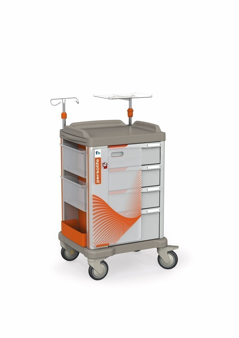 Persolife Notfallwagen mit 4 Schubladen und ausziehbarer Schreibplatte
