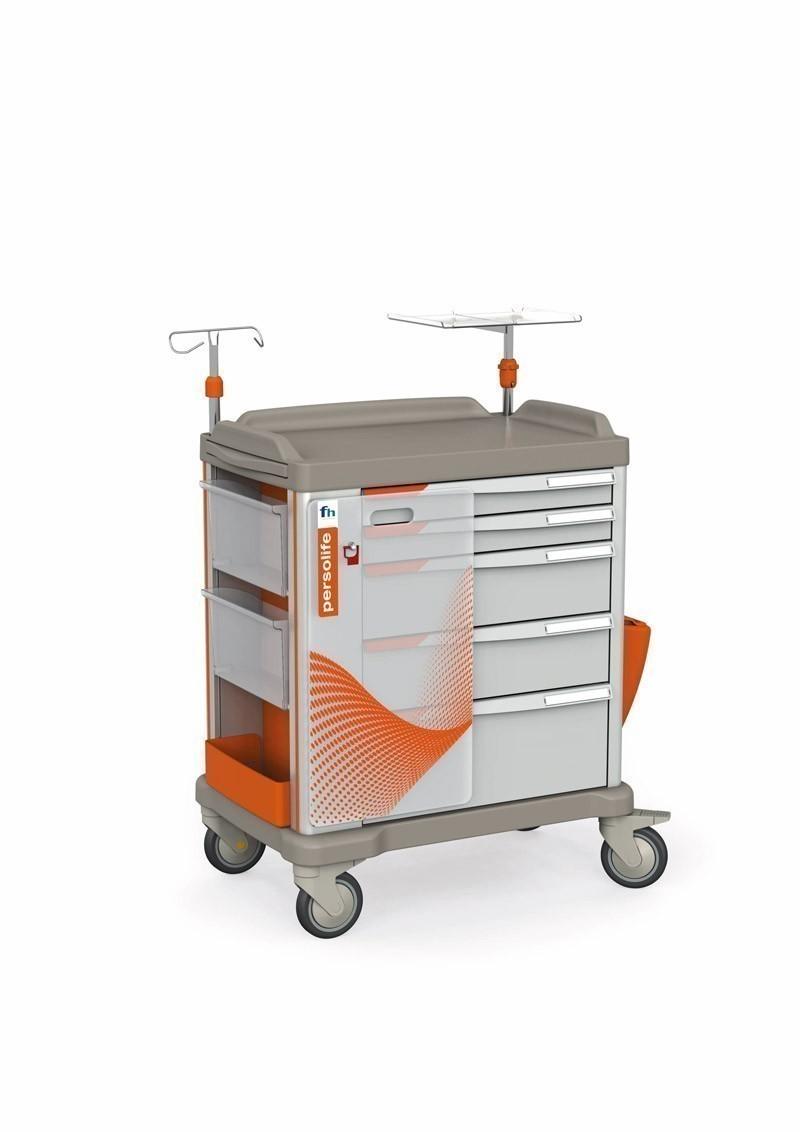 Persolife Compact Notfallwagen mit 5 Schubladen