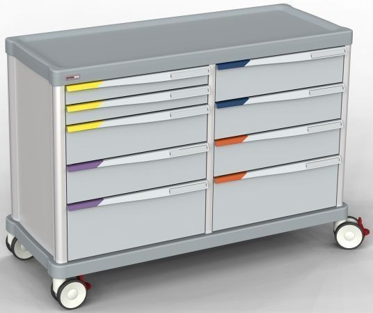 Schrankwagen, Front mit Schubladen/ ISO-Modulen, 27 + 27 ISO Schienen