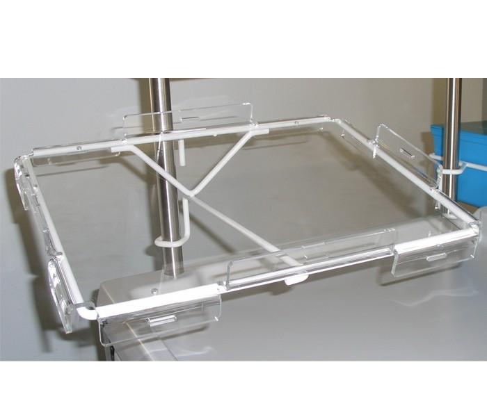 Halterung für Laptop aus Pulverbeschichtetem Edelstahl und Plexglashalterung