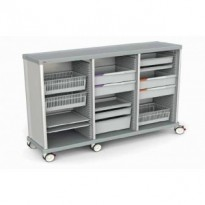 Schrankwagen, Front mit Schubladen/ ISO-Modulen, 41 + 41 + 41 ISO Schienen