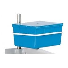 Instrumentenabwurfbox mit Deckel und Sieb für Desinfektionsmittel